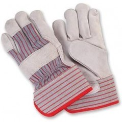 Leather Palm Work Gloves with Safety Cuff