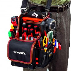 """Husky GP-44316AN13 14"""" 600-Denier Red Water-Resistant Contractor's Rolling Tool Tote Bag with Telescoping Handle"""