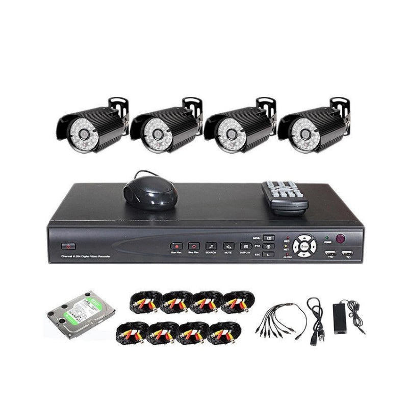 Anspo 4 Channels CCTV Combo Kit Security Recording System With Internet and 3G Pho