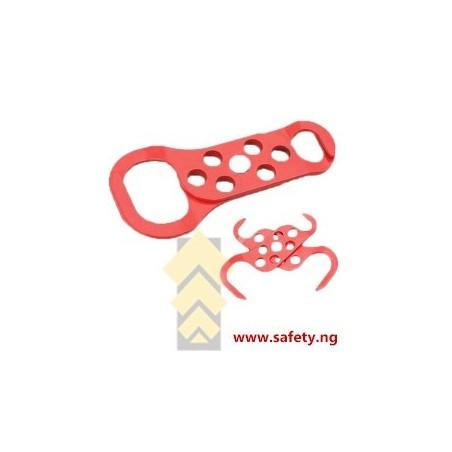 Red Powder - Coated Scissor Lockout Hasp - 6 Hole