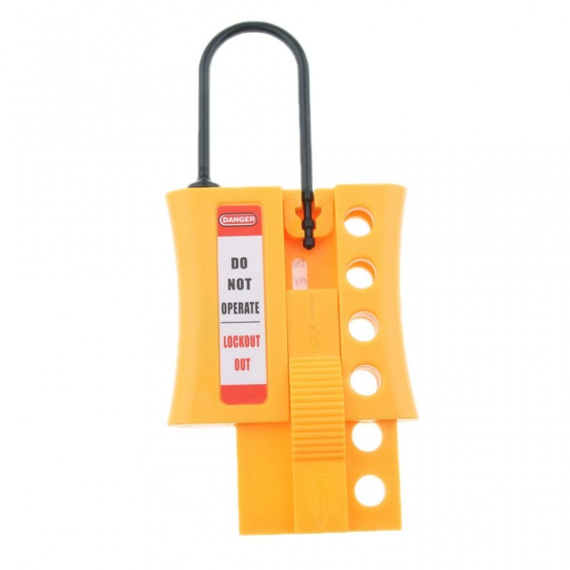 4-Hole Non Conductive Safety Dielectric Slider Fully Insulated Lockout Hasp, Spark-Proof Nylon Construction