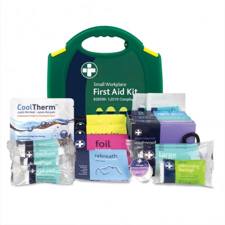 Reliance BS8599-1:2019 Small Workplace First Aid Kit in Green Integral Aura Box