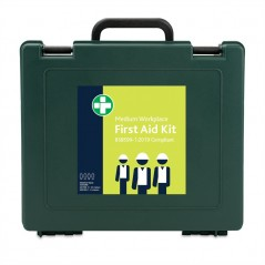 Reliance BS8599-1:2019 Medium Workplace First Aid Kit in Green Oxford Box – inc bracket