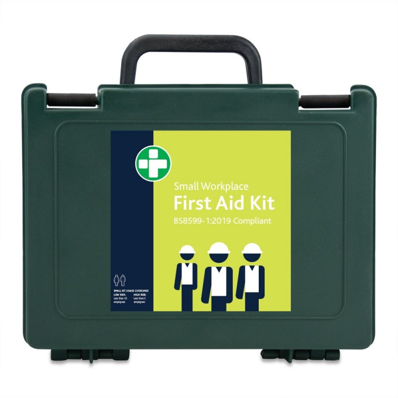 Reliance BS8599-1:2019 Small Workplace First Aid Kit in Green Durham Box – inc bracket