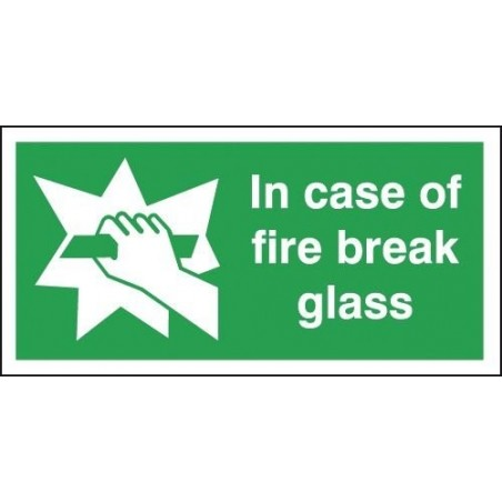 In Case Of Fire Break Glass Signs