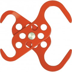 Red Powder - Coated Scissor Lockout scorpio Hasp - 6 Hole