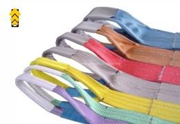 Flat webbing lifting belt and color coding